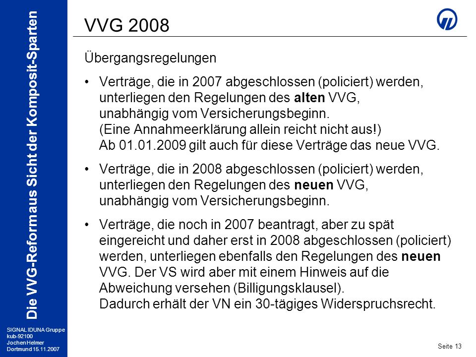 VVG 2008 Übergangsregelungen
