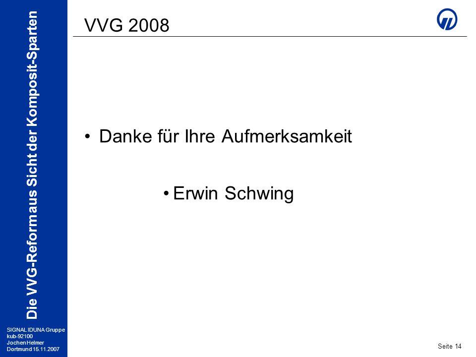 VVG 2008 Danke für Ihre Aufmerksamkeit Erwin Schwing
