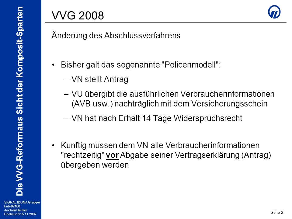 VVG 2008 Änderung des Abschlussverfahrens