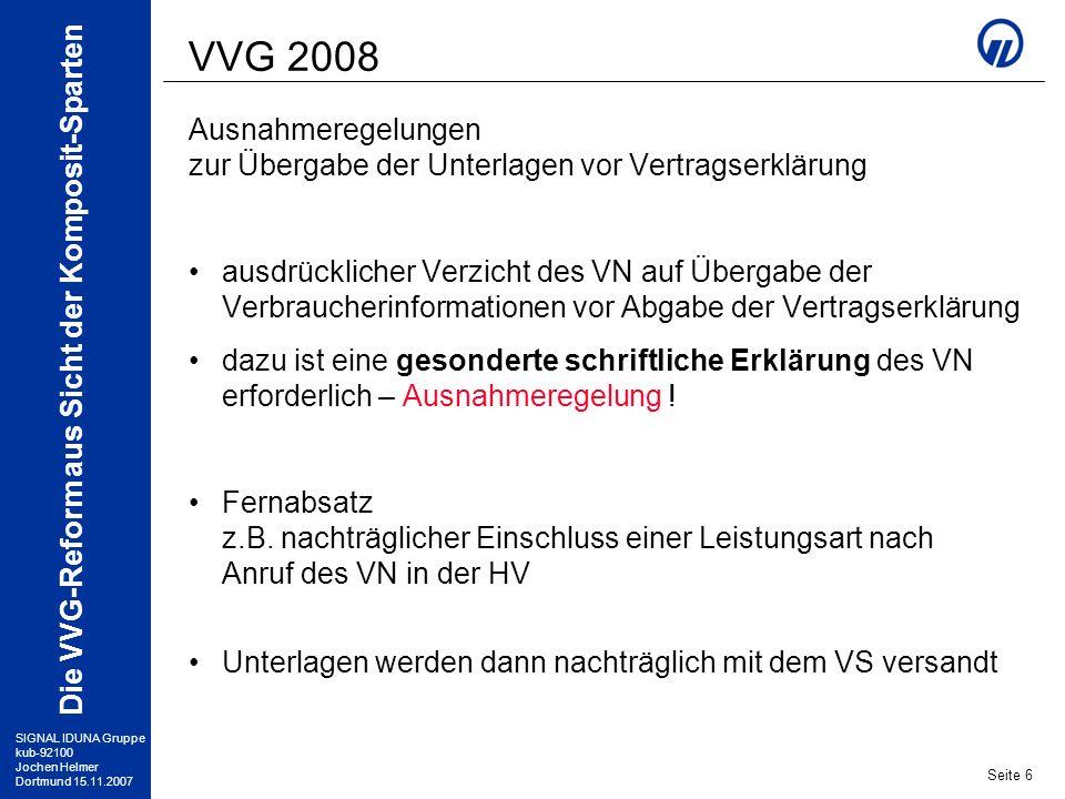 VVG 2008 Ausnahmeregelungen
