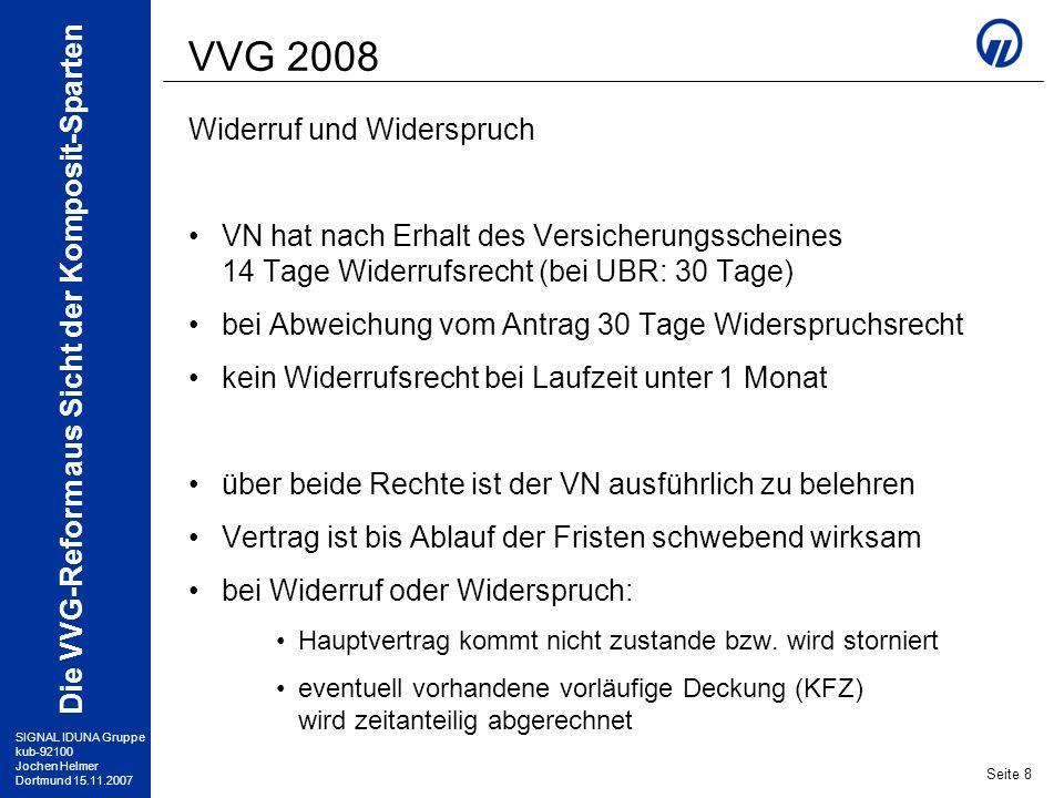 VVG 2008 Widerruf und Widerspruch
