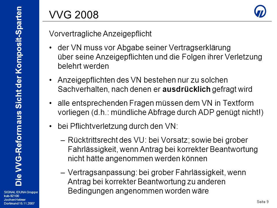 VVG 2008 Vorvertragliche Anzeigepflicht