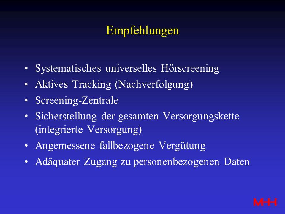 Empfehlungen Systematisches universelles Hörscreening