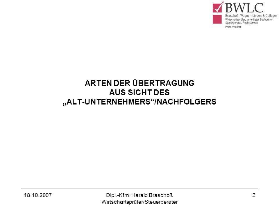 """ARTEN DER ÜBERTRAGUNG AUS SICHT DES """"ALT-UNTERNEHMERS /NACHFOLGERS"""