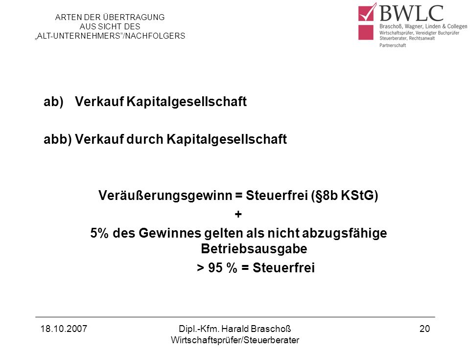 ab) Verkauf Kapitalgesellschaft abb) Verkauf durch Kapitalgesellschaft