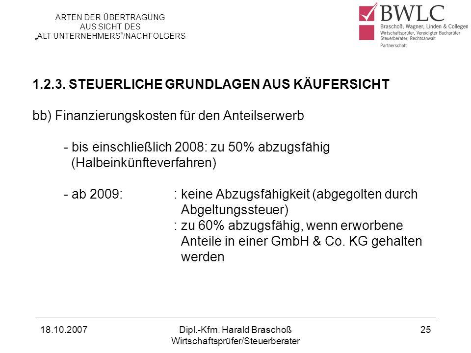 1.2.3. STEUERLICHE GRUNDLAGEN AUS KÄUFERSICHT