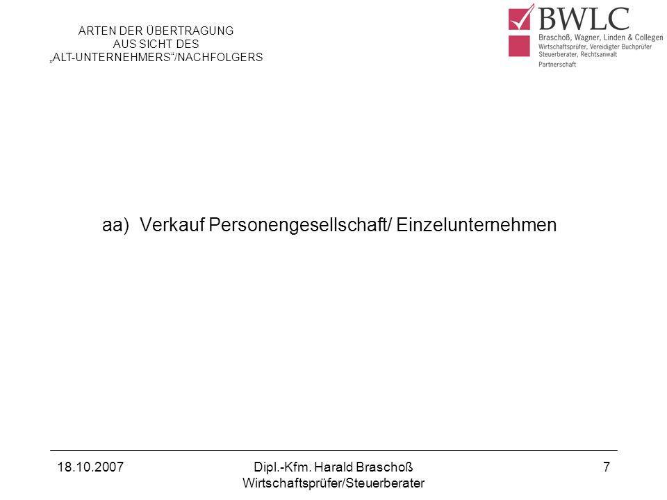 aa) Verkauf Personengesellschaft/ Einzelunternehmen