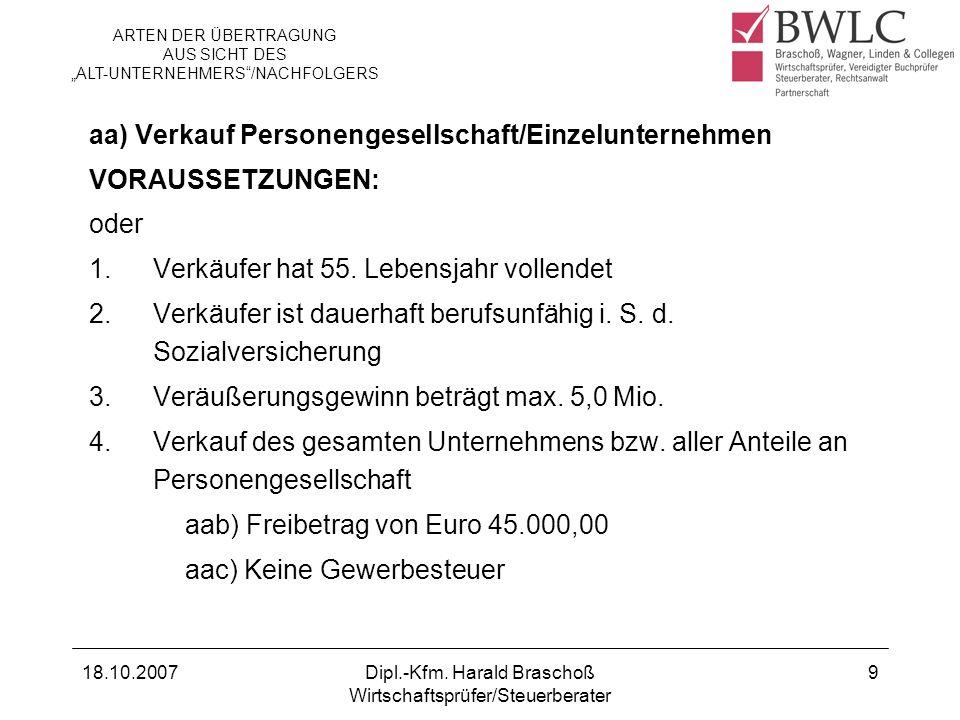 aa) Verkauf Personengesellschaft/Einzelunternehmen VORAUSSETZUNGEN: