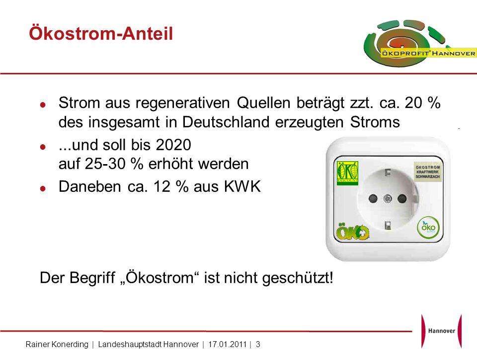 Ökostrom-Anteil Strom aus regenerativen Quellen beträgt zzt. ca. 20 % des insgesamt in Deutschland erzeugten Stroms.