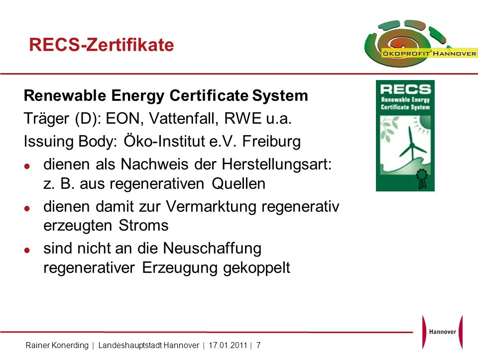 RECS-Zertifikate Renewable Energy Certificate System