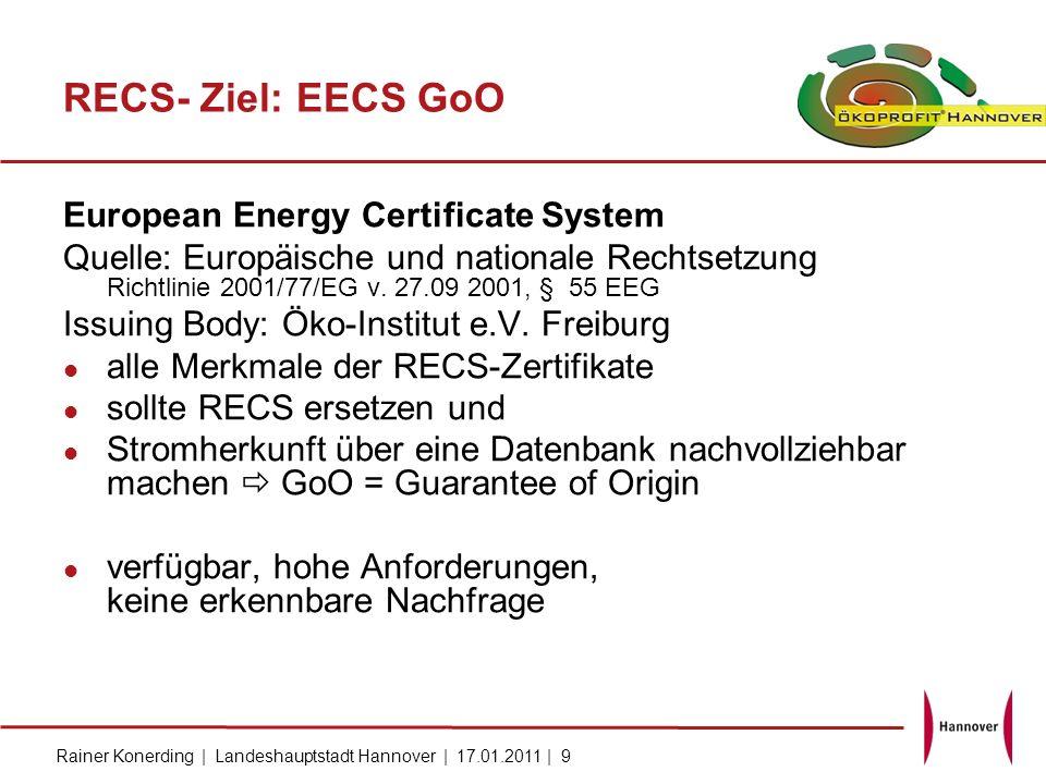 RECS- Ziel: EECS GoO European Energy Certificate System