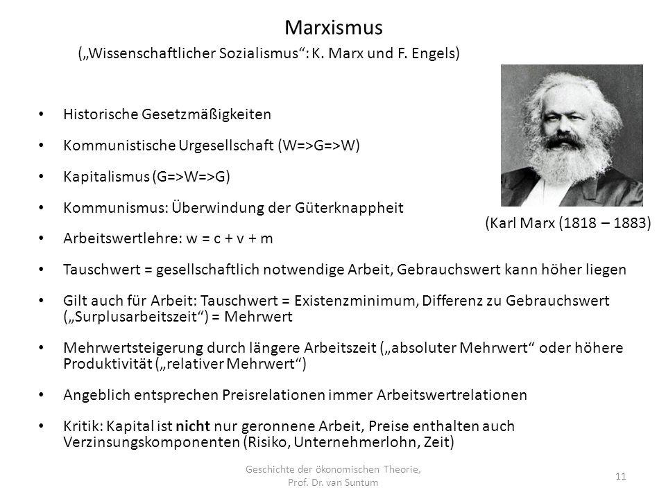 Geschichte der ökonomischen Theorie, Prof. Dr. van Suntum