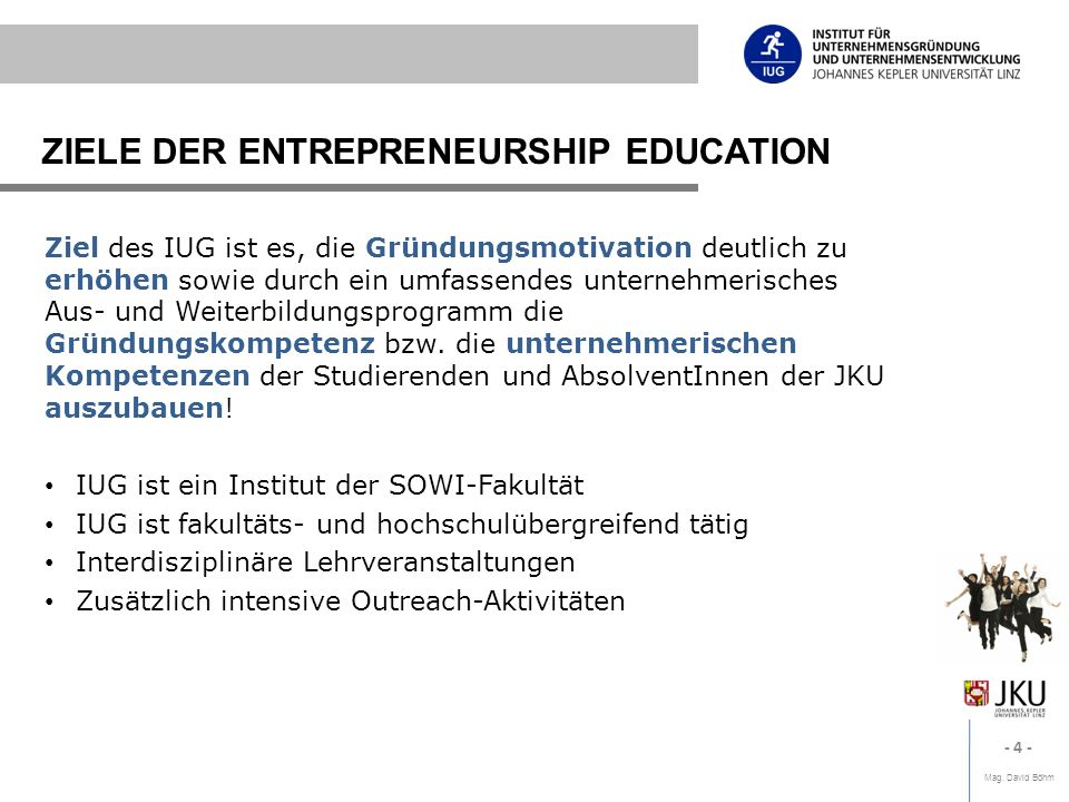 ZIELE DER ENTREPRENEURSHIP EDUCATION
