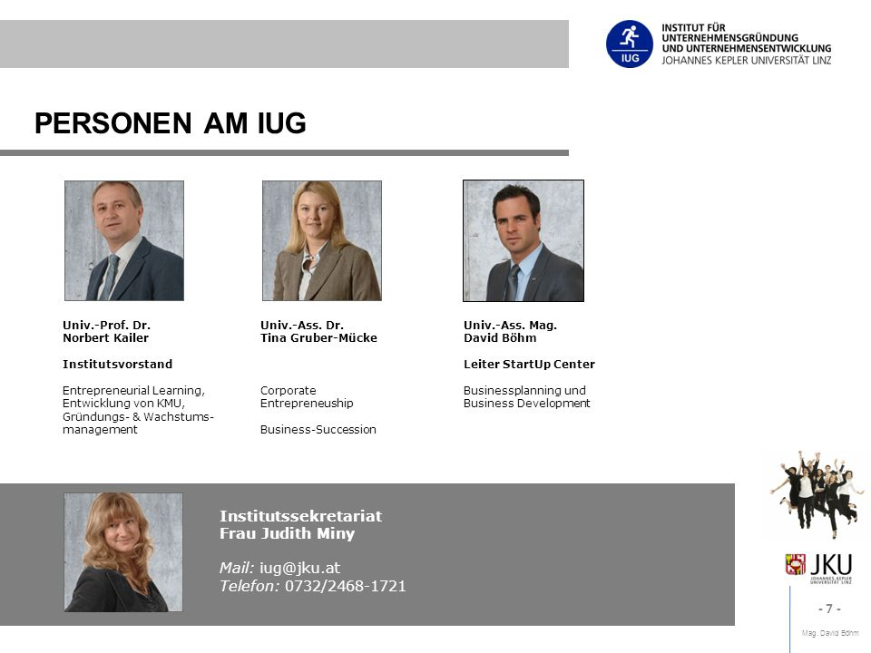 PERSONEN AM IUG Institutssekretariat