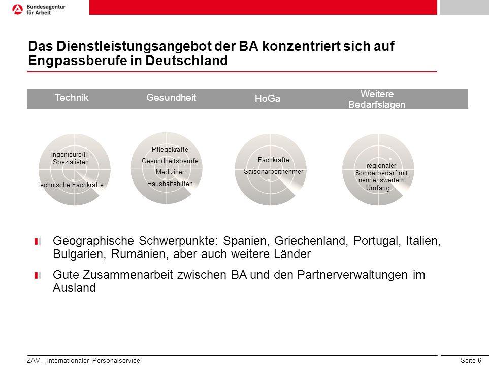 Das Dienstleistungsangebot der BA konzentriert sich auf Engpassberufe in Deutschland