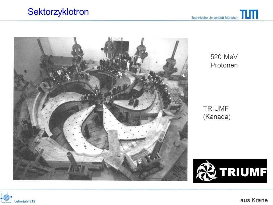 Sektorzyklotron 520 MeV Protonen TRIUMF (Kanada) aus Krane