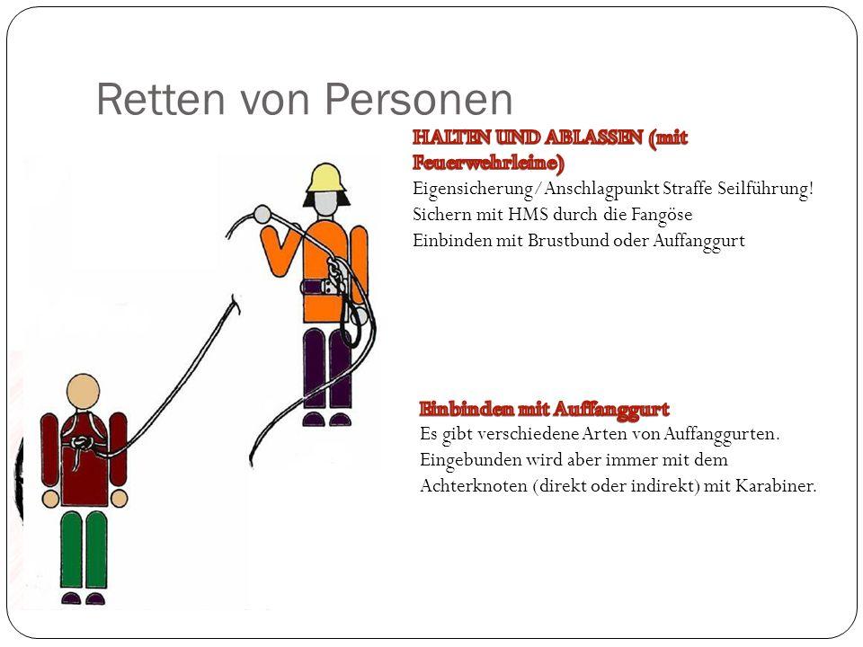 Retten von Personen HALTEN UND ABLASSEN (mit Feuerwehrleine)