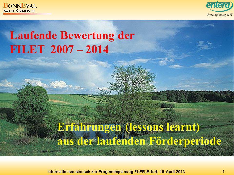 Laufende Bewertung der FILET 2007 – 2014