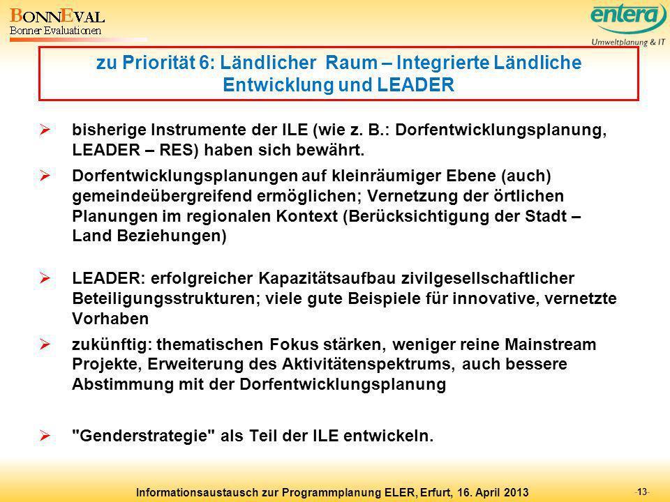 zu Priorität 6: Ländlicher Raum – Integrierte Ländliche Entwicklung und LEADER