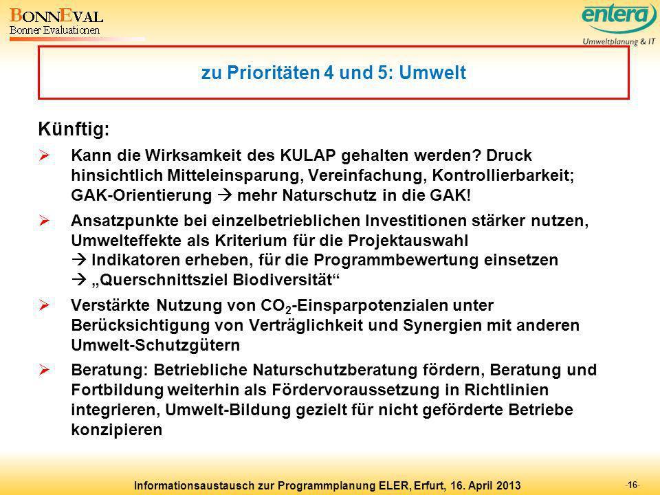 zu Prioritäten 4 und 5: Umwelt