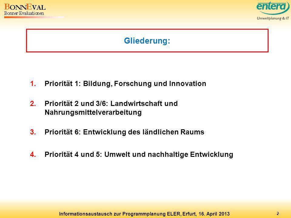 Gliederung: Priorität 1: Bildung, Forschung und Innovation