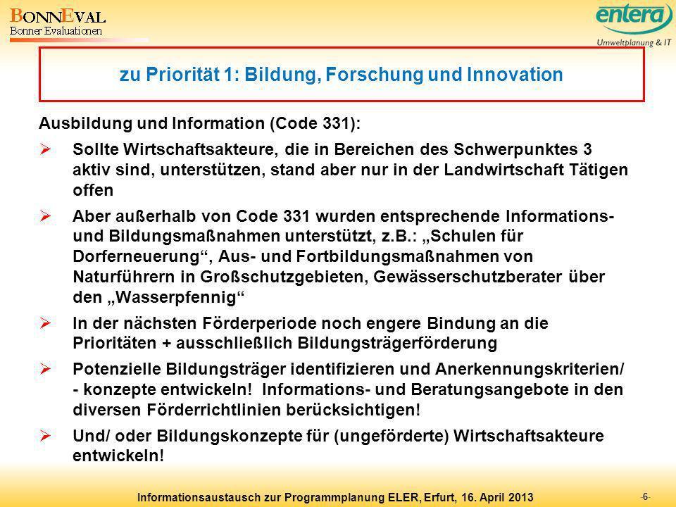 zu Priorität 1: Bildung, Forschung und Innovation