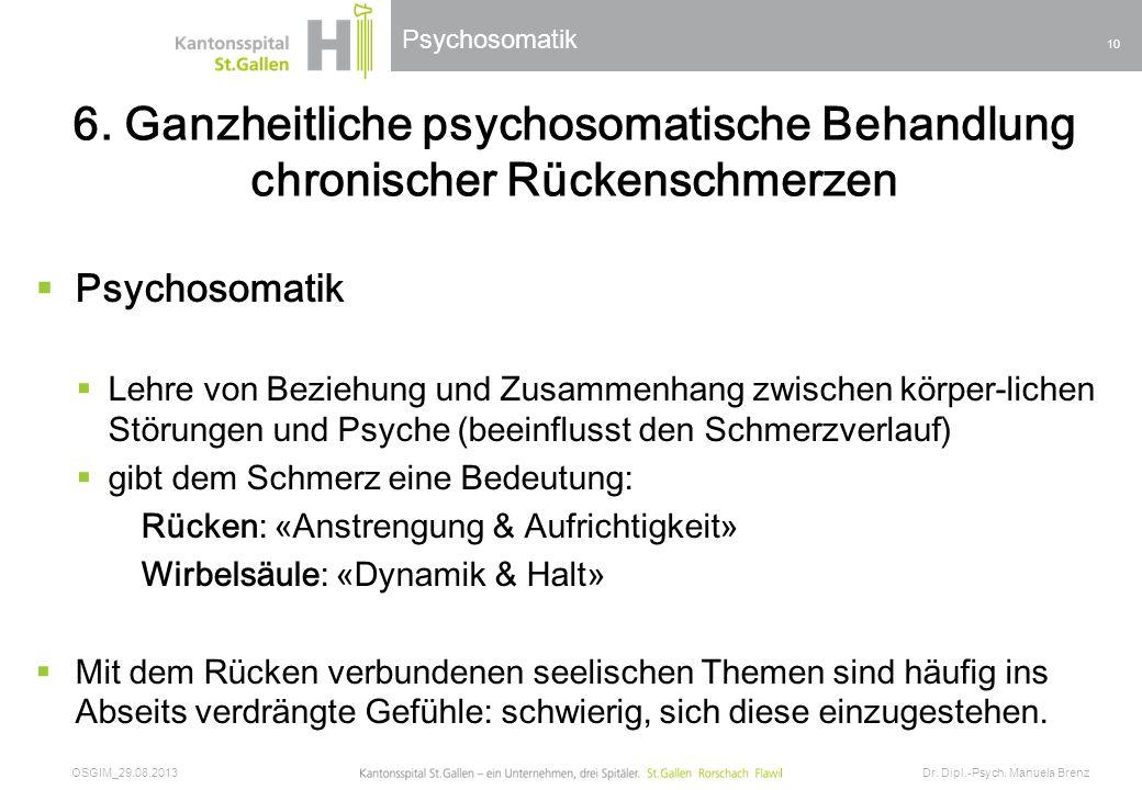 6. Ganzheitliche psychosomatische Behandlung chronischer Rückenschmerzen