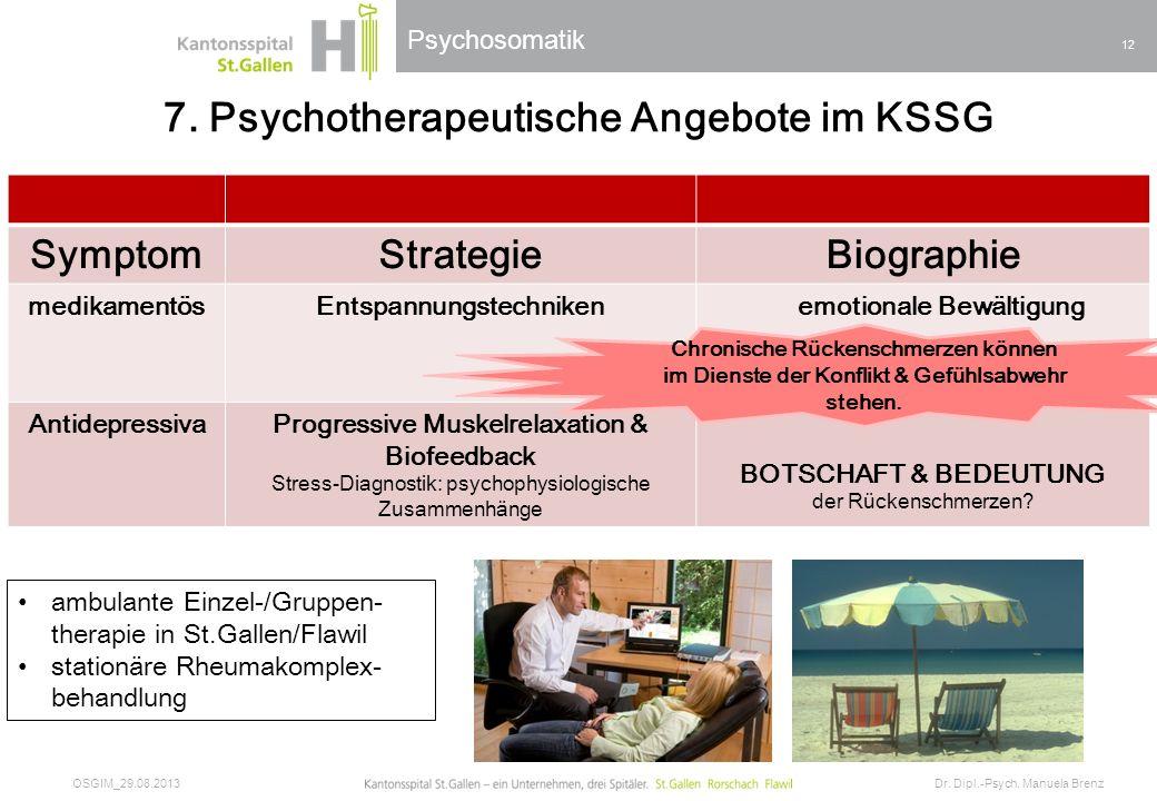 7. Psychotherapeutische Angebote im KSSG