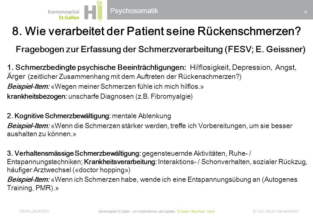 8. Wie verarbeitet der Patient seine Rückenschmerzen
