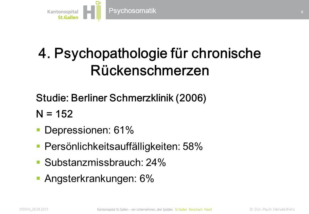 4. Psychopathologie für chronische Rückenschmerzen