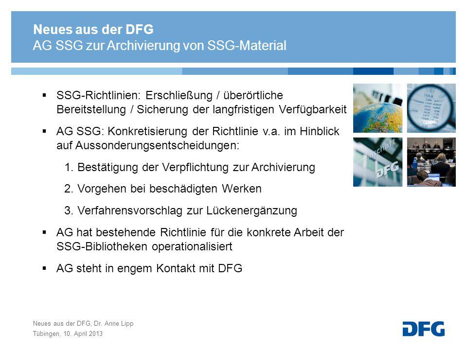 AG SSG zur Archivierung von SSG-Material
