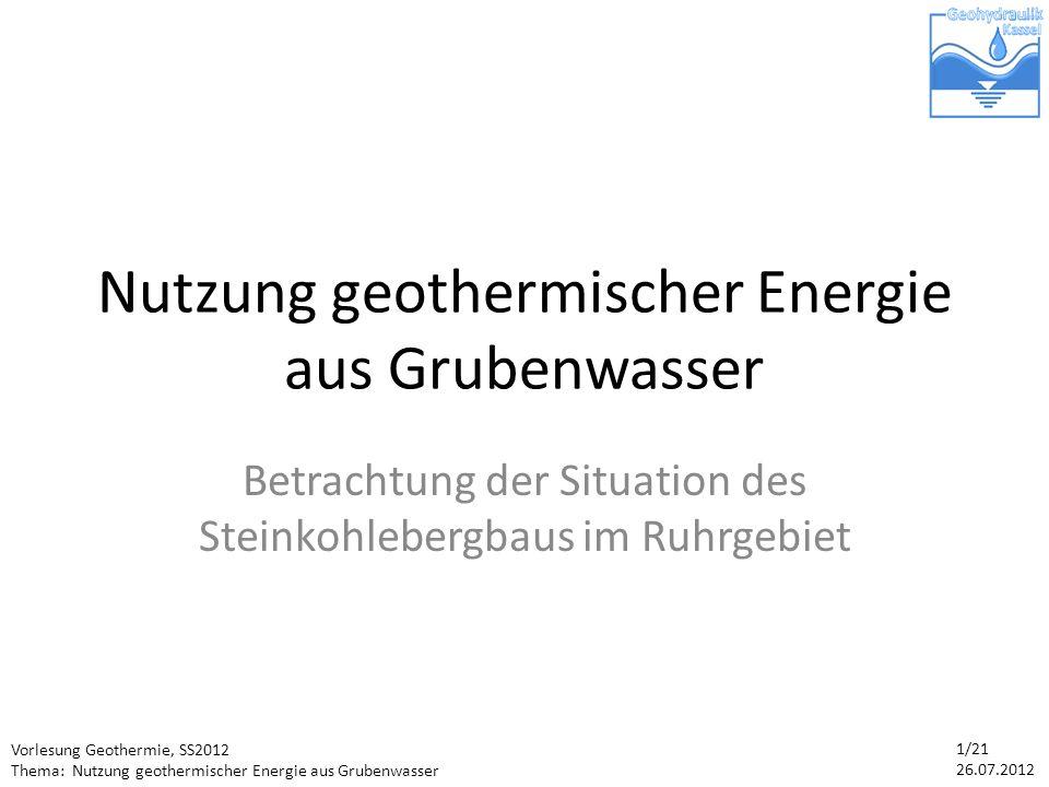 Nutzung geothermischer Energie aus Grubenwasser