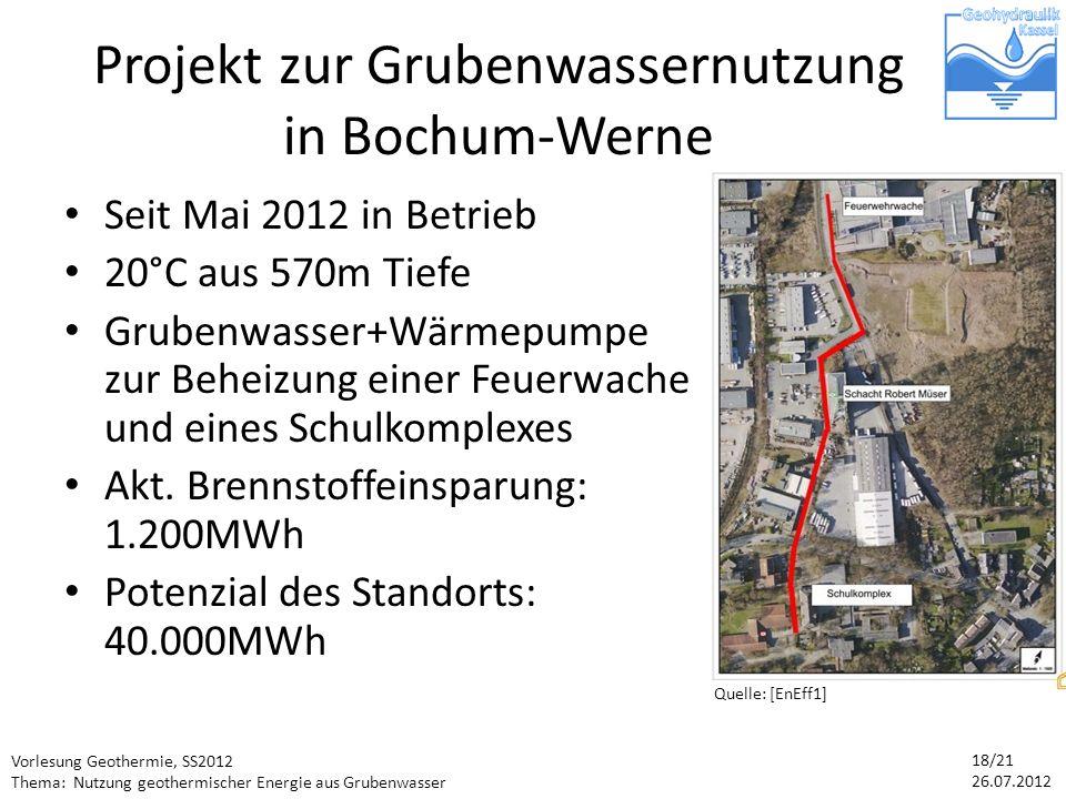 Projekt zur Grubenwassernutzung in Bochum-Werne