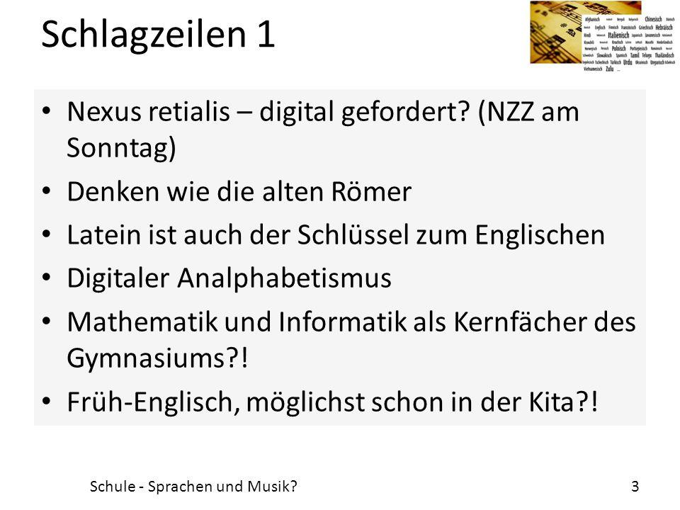 Schlagzeilen 1 Nexus retialis – digital gefordert (NZZ am Sonntag)