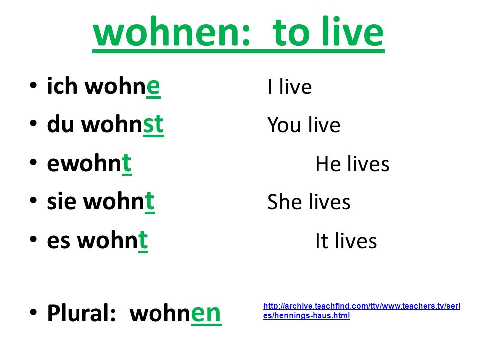 wohnen: to live ich wohne I live du wohnst You live ewohnt He lives