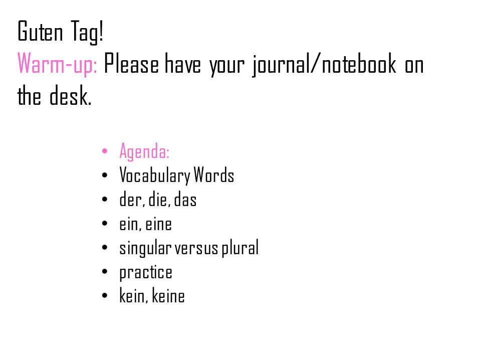 Guten Tag! Warm-up: Please have your journal/notebook on the desk.