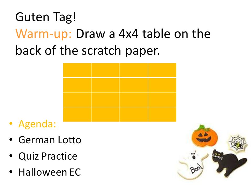 Guten Tag! Warm-up: Draw a 4x4 table on the back of the scratch paper.