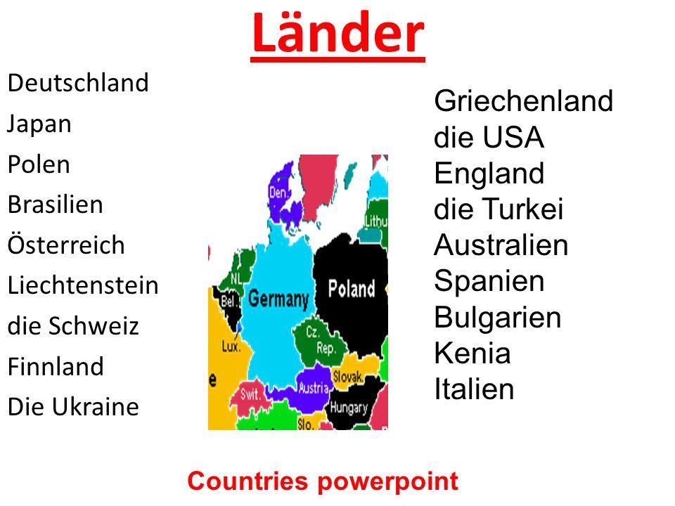 Länder Griechenland die USA England die Turkei Australien Spanien