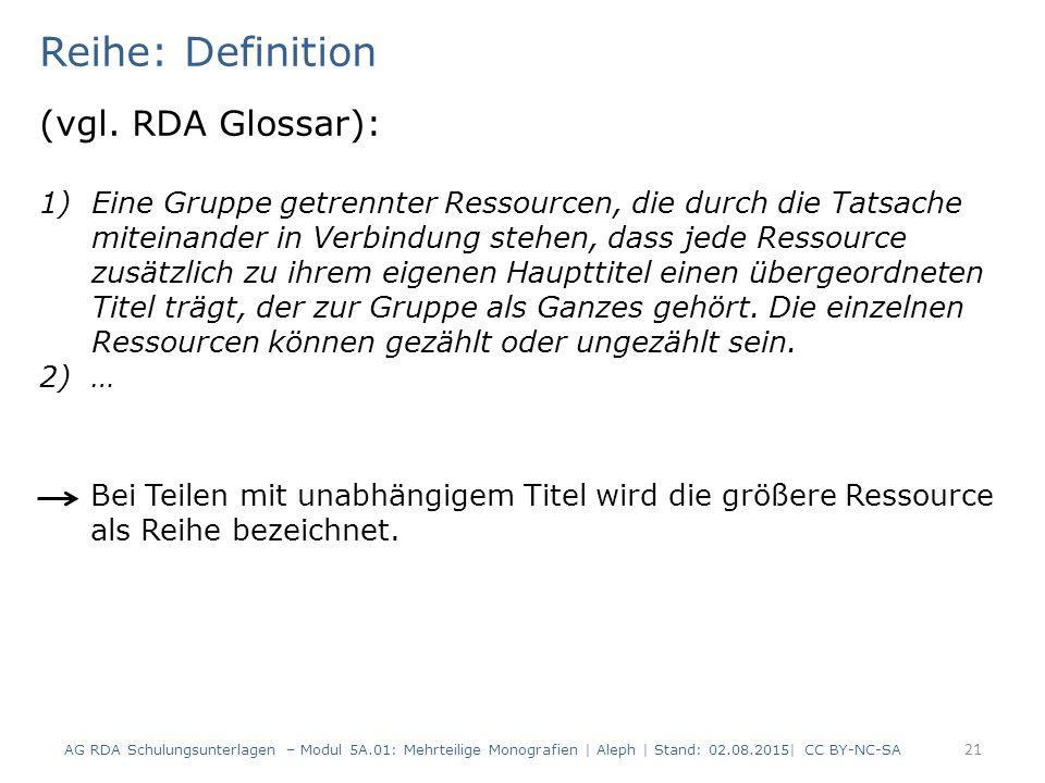 Reihe: Definition (vgl. RDA Glossar):