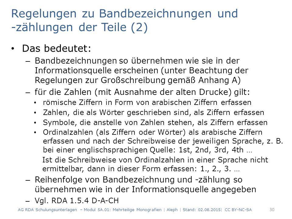 Regelungen zu Bandbezeichnungen und -zählungen der Teile (2)