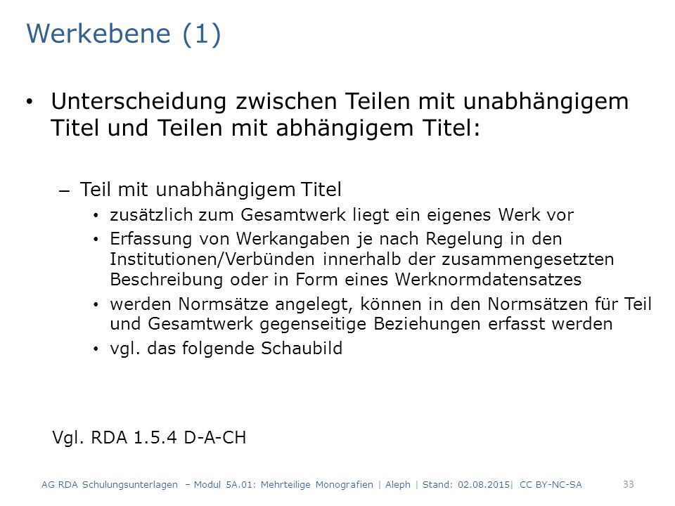Werkebene (1) Unterscheidung zwischen Teilen mit unabhängigem Titel und Teilen mit abhängigem Titel: