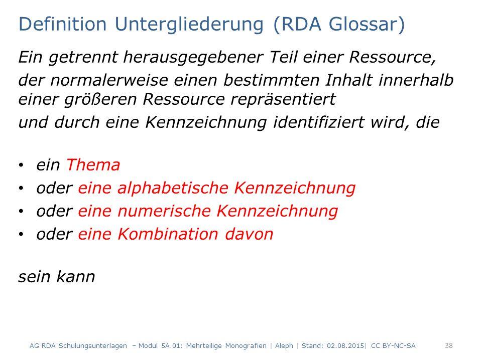 Definition Untergliederung (RDA Glossar)