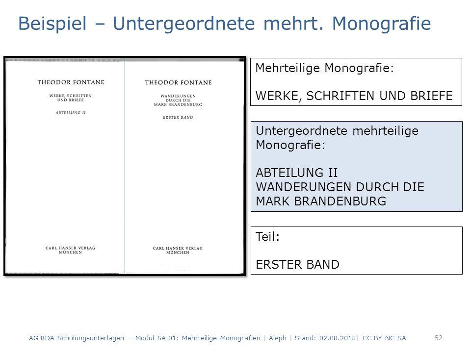 Beispiel – Untergeordnete mehrt. Monografie