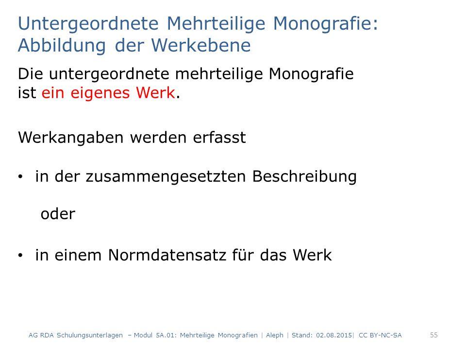 Untergeordnete Mehrteilige Monografie: Abbildung der Werkebene