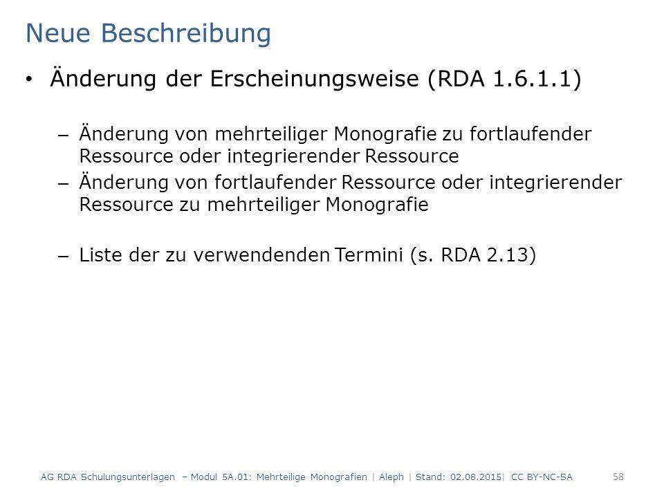 Neue Beschreibung Änderung der Erscheinungsweise (RDA 1.6.1.1)