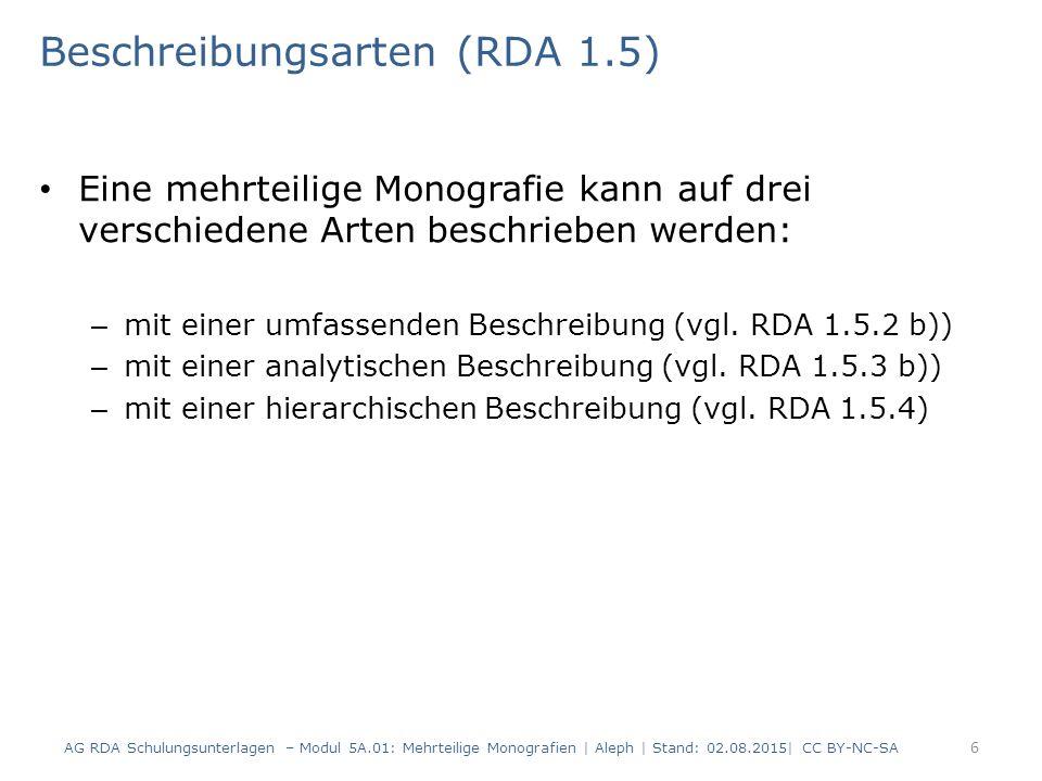 Beschreibungsarten (RDA 1.5)