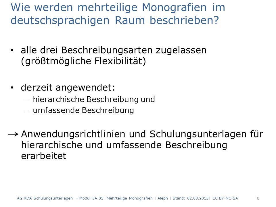 Wie werden mehrteilige Monografien im deutschsprachigen Raum beschrieben