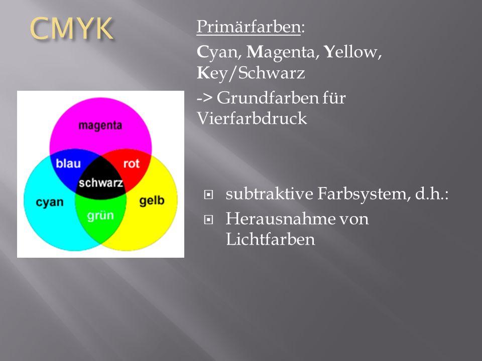 CMYK Primärfarben: Cyan, Magenta, Yellow, Key/Schwarz