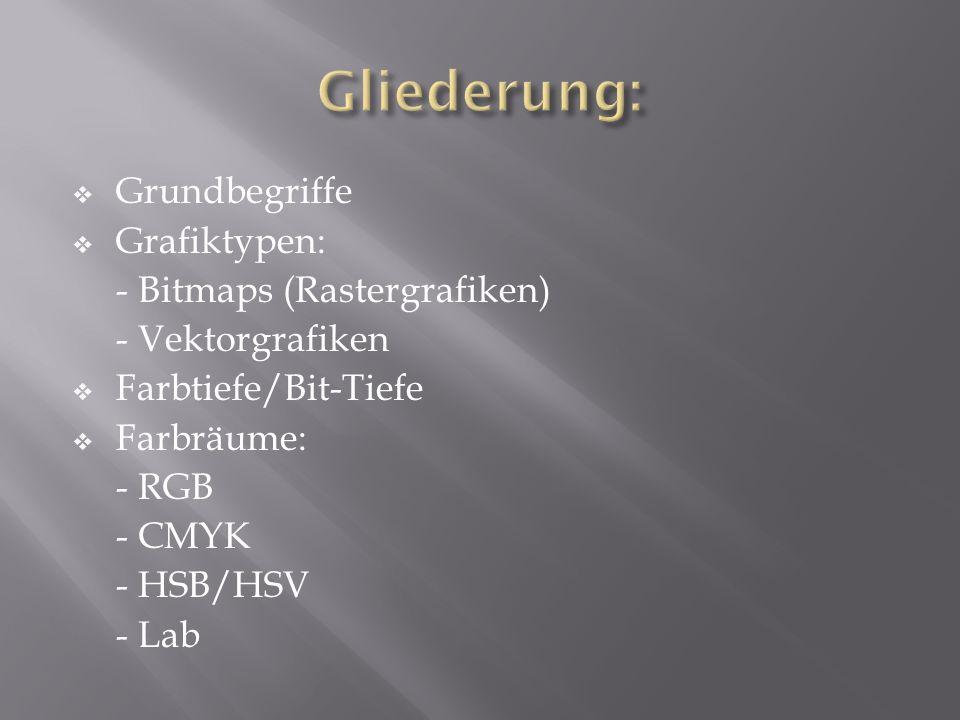 Gliederung: Grundbegriffe Grafiktypen: - Bitmaps (Rastergrafiken)