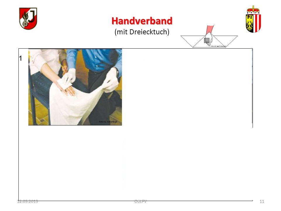 Handverband (mit Dreiecktuch) 12.03.2013 OöLFV Foto W. Weishäupl